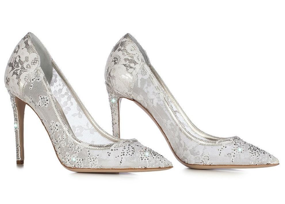 Scarpe sposa pizzo metallo Le Silla 2015
