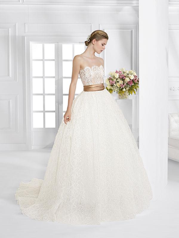 Abito sposa AV100 ball gown cintura contrasto collezione Fiori 2016 Patricia Avendano
