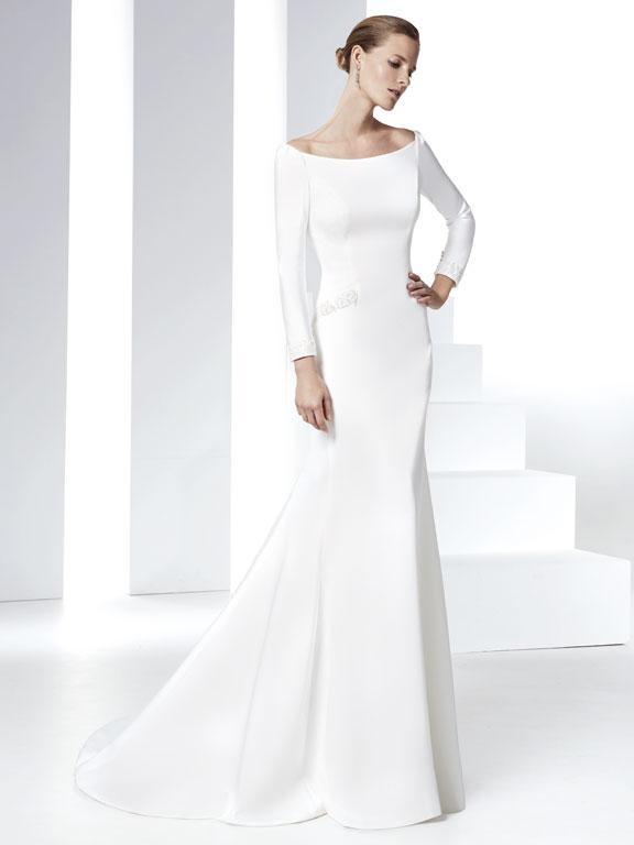 Vestito sposa 2016 minimal chic Raimon Bundo modello RB401 Parma