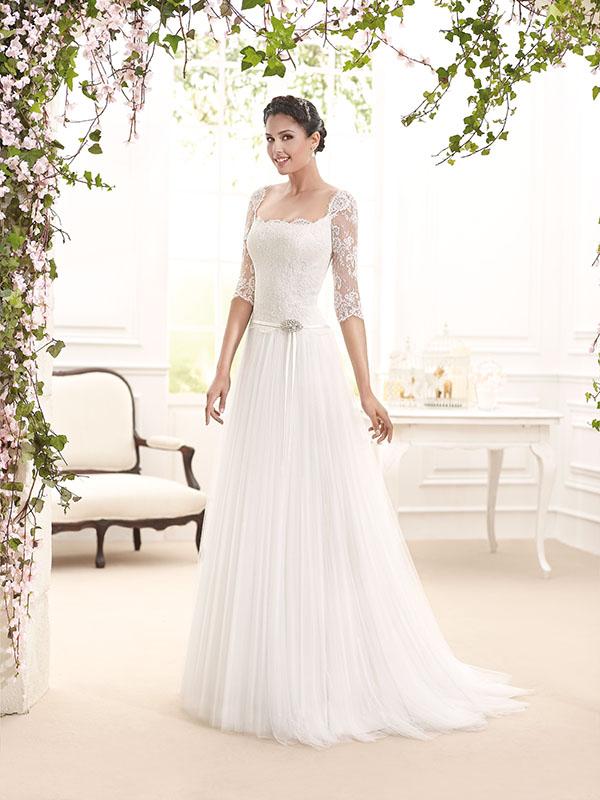 0be7e998589a Maniche lunghe tre quarti vestiti sposa 2016 esempio Novia Art ...