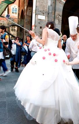 Abito sposa pasticceria Roberto Cantolacqua collezioni 2017 Delsa
